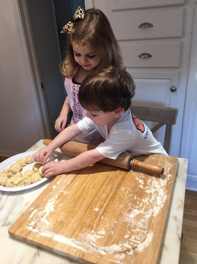 Kids making dough